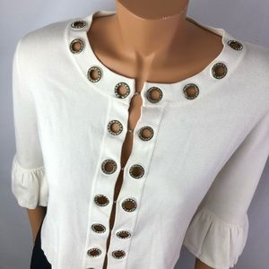 Belldini white cardigan front hook bell sleeves L